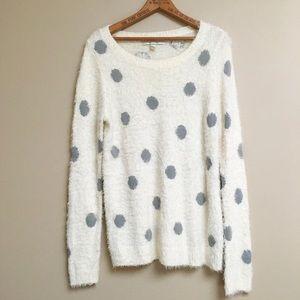 LC Lauren Conrad white fuzzy polka dot sweater